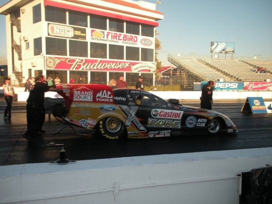 John Force eases his Mustang up to the starting line for a test run at Firebird on Monday. (Photo courtesy of John Force Racing)