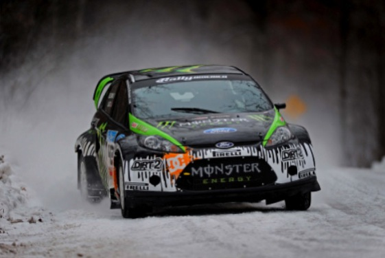 Ken Block and the WRT Fiesta bust some snow drifts. (Photo courtesy of Ford)