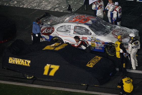 Matt Kenseth's victory in last year's Daytona 500 came with his car under a protective cover. (Photo by Chris Graythen/Getty Images)
