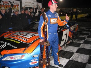Kyle Busch celebrates in Victory Lane at Lanier National Speedway on Sunday. (RacinToday photo by Jeff Hood)