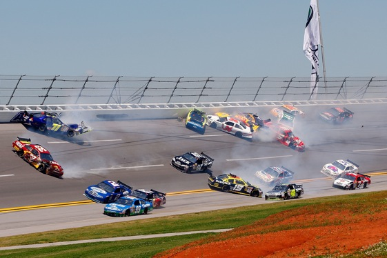 Cars have been wrecking at Talladega and Daytona since the day the tracks opened. NASCAR can't prevent it. (Photo by John Harrelson/Getty Images)