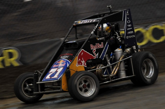 Cole Whitt heads for a second-place finish at the Chili Bowl.