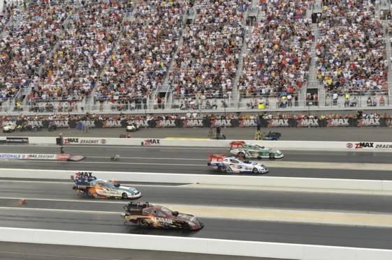 Last year, they went four-wide for fun at Zmax. This year, it will be for real. (File photo courtesy of the NHRA)