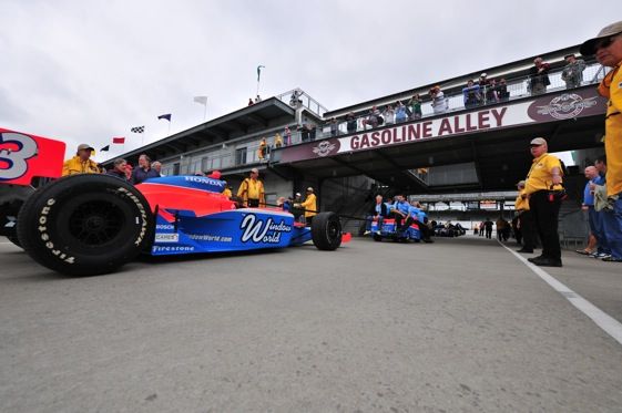 Cars will roll down Gasoline Alley to get to practice at Indy a little less often this year. (File photo courtesy of the Indy Racing League)