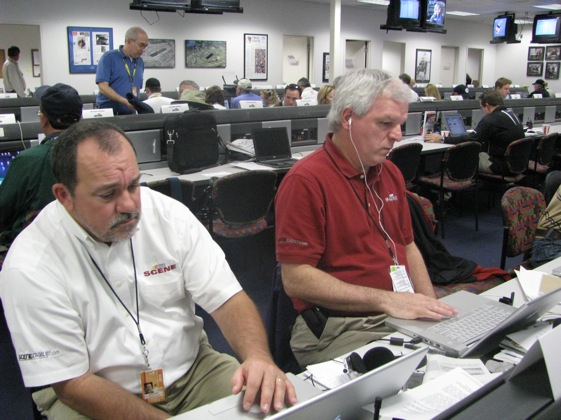 NASCAR Scene writers Kenny Bruce and Mike Hembree at last year's Daytona 500. This year, Hembree will not be there for Scene. (File photo courtesy of NASCAR)