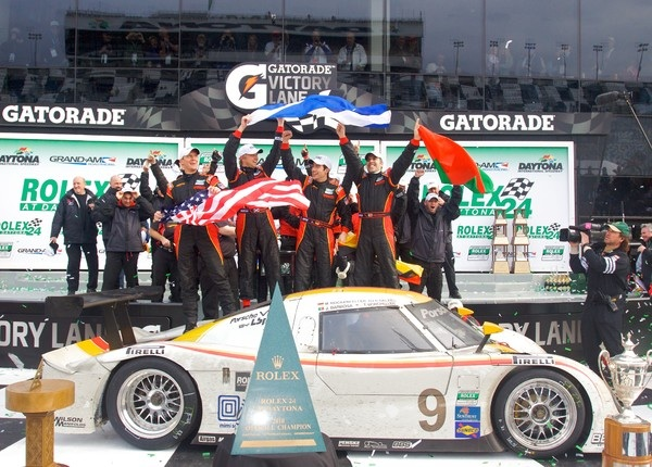 Members of the winning Action Express team celebrate Sunday after the 2010 Rolex 24 at Daytona. (Photo courtesy of the Grand-Am Series)