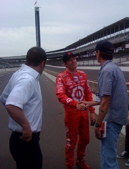 RacinToday's John Sturbin interviewed 2008 Indy 500 Scott Dixon on Sturbin's 29th visit to the Speedway (RacinToday file photo by Jim Pedley)