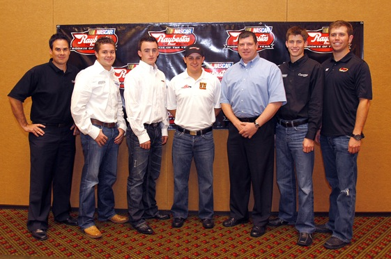 The 2010 Raybestos Rookie of the Year Class for the top 3 NASCAR Touring Series.  Left to right, they are Kevin Conway, Ricky Stenhouse, Jr.,  Austin Dillon, Justin Lofton, Terry Cook, Colin Braun, and Brian Scott. (Photo courtesy of NASCAR)