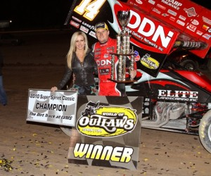 Jason Meyers in Victory Lane at Vegas (World of Outlaws photo by  Jack Hedstrom)