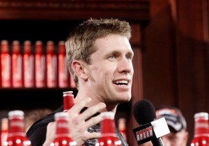 Carl Edwards spent some time talking racing at Daytona on Friday. (Photo by Jason Smith/Getty Images for NASCAR)