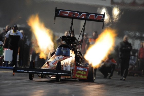 Cory McClenathan lights up the night during Thursday qualifying at the NHRA Winternationals in Pomona. (Photo courtesy of the NHRA Full Throttle Drag Racing Series)