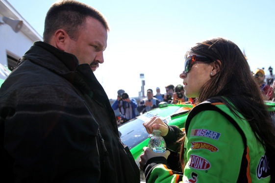 Danica Patrick and her Nationwide Series crew chief, Tony Eury Jr., talk racing during a break in practice Wednesday. (Photo by Jonathan Ferrey/Getty Images for NASCAR)