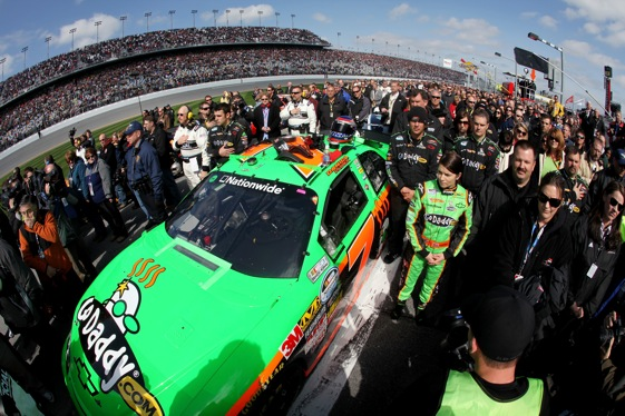 Danica Patrick and her team attracted a crowd on pit road Saturday. (Photo by Jonathan Ferrey/Getty Images for NASCAR)