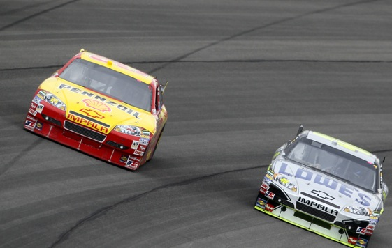 Kevin Harvick appeared to be running down Jimmie Johnson late last Sunday be a slap of the wall ended the chase. (Photo by Jeff Gross/Getty Images)