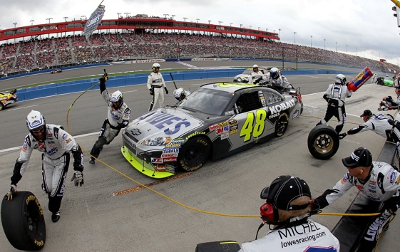 It was a late pit stop which helped give Jimmie Johnson and Chad Knaus their victory at Auto Club Speedway. (Photo by Jason Smith/Getty Images for NASCAR)