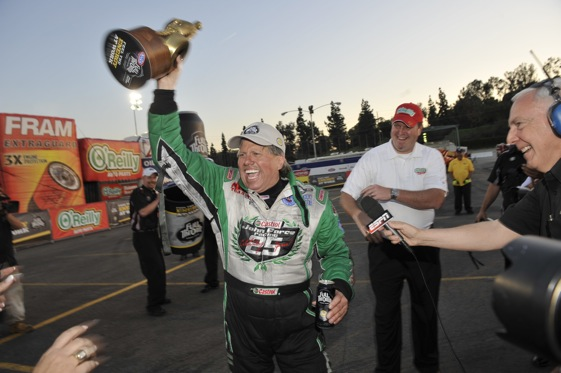John Force picked up his first Funny Car victory since 2008 on Sunday. (Photo courtesy of the NHRA)