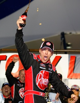 Kevin Harvick was a big winner in Las Vegas Saturday. (Photo by Geoff Burke/Getty Images for NASCAR)