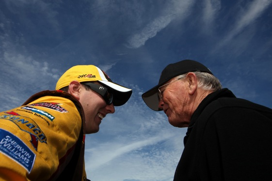 Kyle Busch and his team owner, Joe Gibbs, were in a good mood early Thursday. (Photo by Jonathan Ferrey/Getty Images for NASCAR)