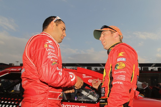 It's an all-EGR front row at California as Jamie McMurray, right, will start Sunday's race from the pole and Juan Pablo Montoya will be alongside. (Photo by Jeff Gross/Getty Images)