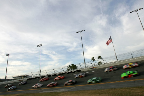 Sprint Cup cars took to the track at Daytona on Thursday for Bud Shootout practice. (Photo by Todd Warshaw/Getty Images for NASCAR)
