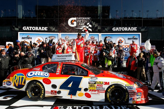 Tony Stewart found Victory Lane, again, at Daytona International Speedway on Saturday. (Photo by Jason Smith/Getty Images for NASCAR)