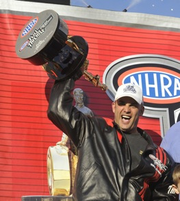 Tony Schumacher and his close friend Wally. (Photo courtesy of the NHRA Full Throttle Drag Racing Series)