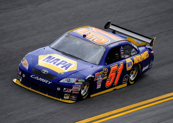 Michael Waltrip and his No. 51 car is in the Daytona 500 but it was not an easy day for the two-time winner of the race. (Photo by Sam Greenwood/Getty Images for NASCAR)