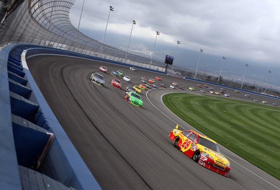 The racing was terrific at Auto Club Speedway on Sunday. Attendance? Not so much. (Photo by Jeff Gross/Getty Images)