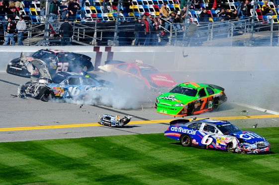 Danica Patrick's first day in NASCAR ended in smoke and rubble.  (Photo by Sam Greenwood/Getty Images)