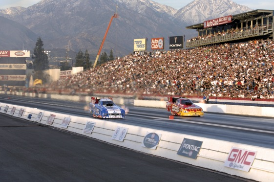 Round 2 of qualifying for the Winternationals was held on Friday. Robert Hight, right lane, held onto the Funny Car provisional pole (Photo courtesy of the NHRA)