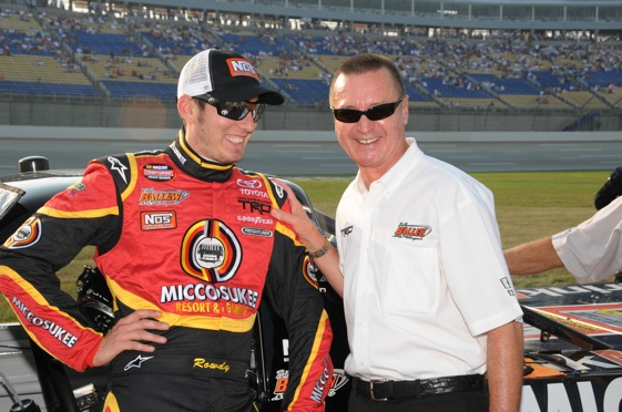 Kyle Busch used to drive for Billy Ballew, right. This weekend, he will drive against him. (File photo courtesy of NASCAR)