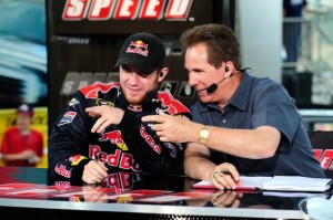 Darrell Waltrip, seen here doing a TV interview with Brian Vickers, had an airport parking surprise recently. (Photo by Rusty Jarrett/Getty Images for NASCAR)