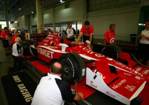 IRL inspectors go over a Target Chip Ganassi Racing car in Brazil on Friday. (Photo courtesy of the Indy Racing League)