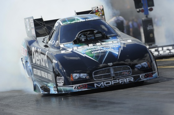 Matt Hagan heats up the tires during Saturday's qualifying at the Gatornationals. (Photo courtesy of the NHRA)