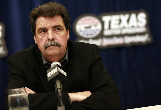 Mike Helton talked about Carl Edwards today. (Photo by Tom Pennington/Getty Images for Texas Motor Speedway)