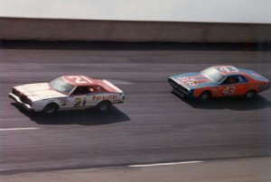 You virtually never saw David Pearson and Richard Petty send the other flying into the air during a race. (File photo courtesy of the Wood Brothers Racing team)