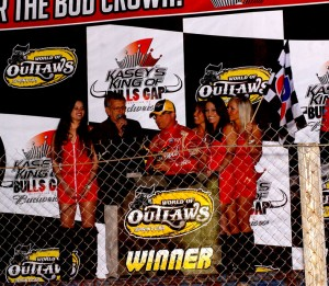 Joey Saldana celebrates. (World of Outlaws Photo by Doug Vandeventer)