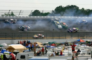 The downside of being a driver at places like Talladega is obvious. (Photo by Jason Smith/Getty Images for NASCAR)