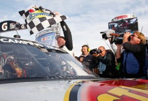 Timothy Peters celebrated his first victory in the Camping World Truck Series last year at Martinsville. (Photo by Geoff Burke/Getty Images for NASCAR)