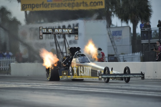 Tony Schumacher sped to the pole during the first round of Top Fuel qualifying at the Gatornationals on Friday. (Photo courtesy of the NHRA)