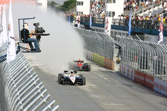 The going was soggy for the late stages of the IndyCar season opener in Sao Paulo, Brazil on Sunday. (Photo courtesy of the Indy Racing League)