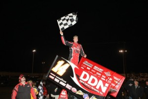 Jason Meyers celebrates in Victory Lane (World of Outlaws photo by John Mierhofer)