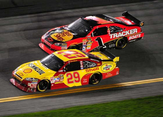 Jamie McMurray was in position to side draft Kevin Harvick at Daytona last month. (Photo by Sam Greenwood/Getty Images for NASCAR)