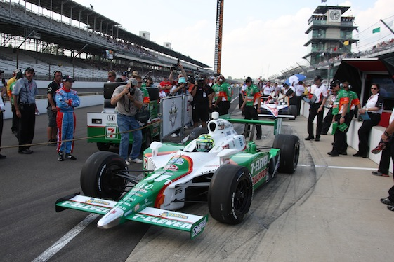 Tony Kanaan heads out for his emotional qualifying run at  Indianapolis Motor Speedway. (Photo courtesy of the IZOD IndyCar  Series)