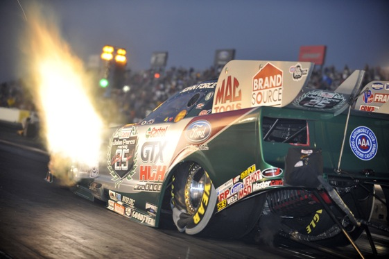 John Force's Funny Car points lead has gone up in smoke. He heads to ...