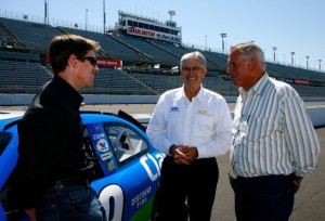Carl Edwards, left, and Leonard Wood, center, talk with David Pearson at Darlington in 2008. Nobody has won more races at Darlington than Pearson. (Photo by Rusty Jarrett/Getty Images for Darlington Raceway)