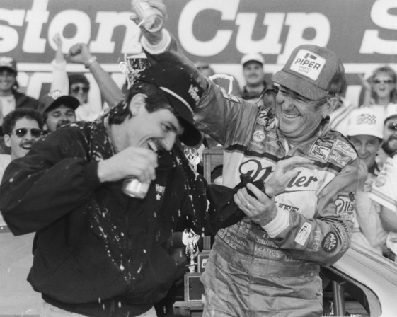 Davey Allison got a beer shower from his father, Bobby Allison, after the 1988 Daytona 500. Davey's son Robbie hopes to be heading for the showers. (File photo courtesy of NASCAR)