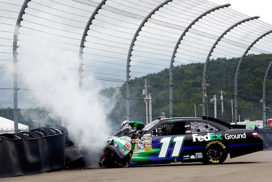 Denny Hamlin slammed into the tire barrier at Watkins Glen. That was a low point of Monday's race. (Photo courtesy of NASCAR)