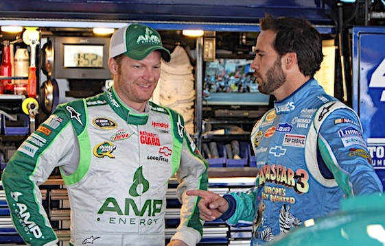 Teammates Dale Earnhardt Jr. and Jimmie Johnson. (RacinToday/HHP file photo by Alan Marler)