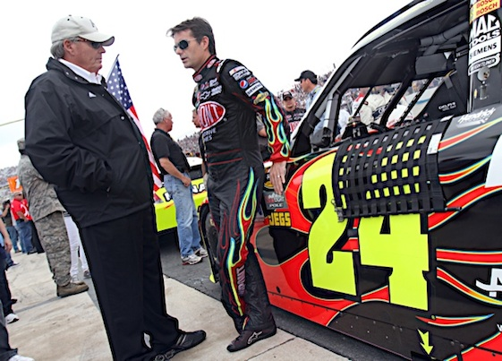 Team owner Rick Hendrick and Jeff Gordon are back together again this weekend in Indianapolis. (RacinToday/HHP file photo by Christa L Thomas)